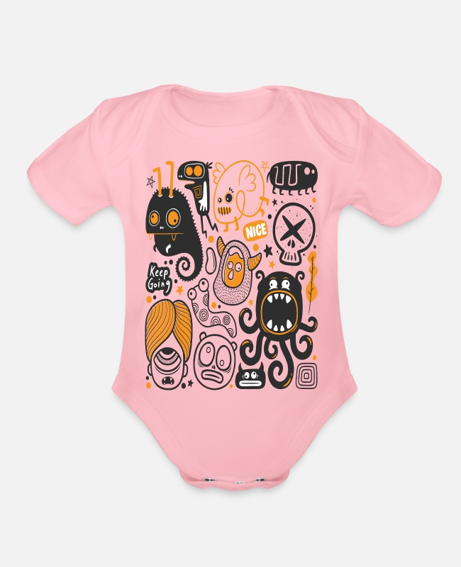 Art Baby One Pieces - hand drawn doddle - Organic Short-Sleeved Baby Bodysuit light pink