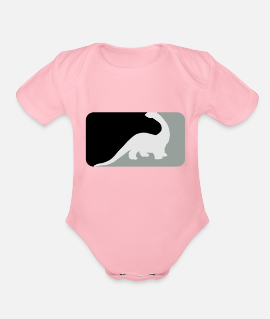 Brontosaurio Baby One Pieces - US-ES Dinosaurios y dinosaurios - Dinosaur & - Organic Short-Sleeved Baby Bodysuit light pink
