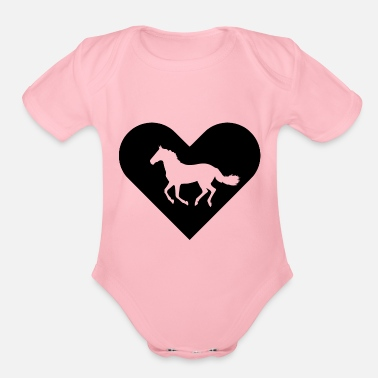 Heart-Horse (black) - Organic Short-Sleeved Baby Bodysuit