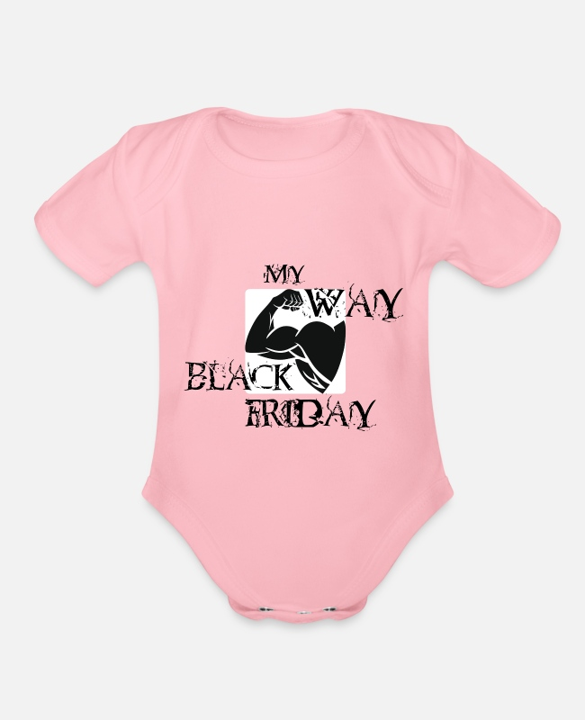 Black Metal Baby One Pieces - Black Friday black left - Organic Short-Sleeved Baby Bodysuit light pink