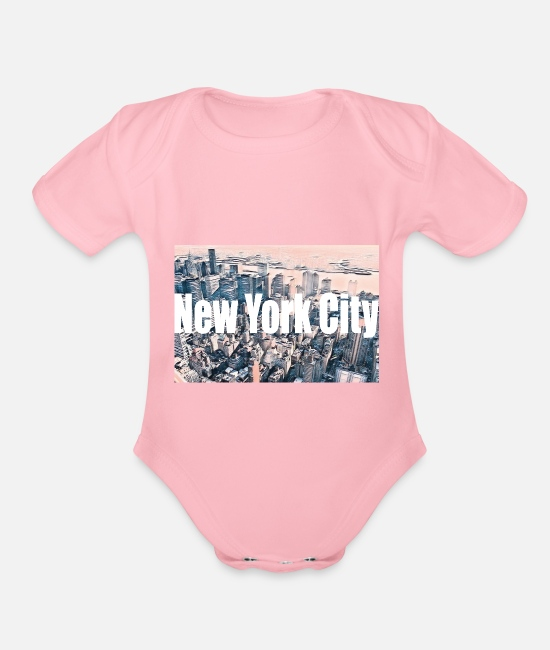 New York Baby One Pieces - New York City - Organic Short-Sleeved Baby Bodysuit light pink