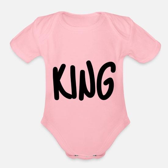 King Baby Clothing - king - Organic Short-Sleeved Baby Bodysuit light pink
