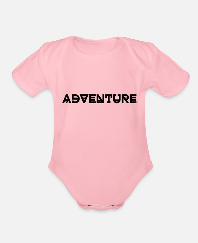 Hay Baby One Pieces - ADVENTURE - Organic Short-Sleeved Baby Bodysuit light pink