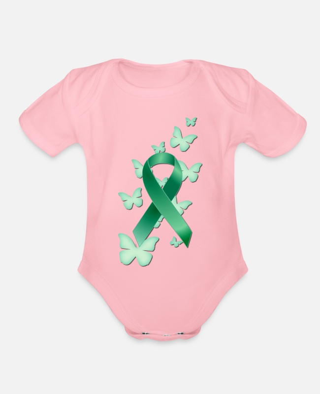 Traumatic Brain Injury Awareness And Support Baby One Pieces - Green Awareness Ribbon - Organic Short-Sleeved Baby Bodysuit light pink