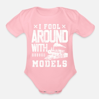 Training Model train train trains - Organic Short Sleeve Baby Bodysuit