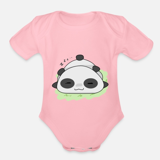 Bed Baby Clothing - Panda Cute Sleeping Z z z Gift Idea - Organic Short-Sleeved Baby Bodysuit light pink