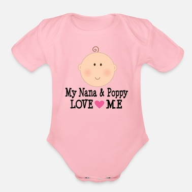 Love Nana and Popppy Love Me Baby Gift - Organic Short-Sleeved Baby Bodysuit