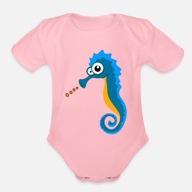 Sea Horse Sea Horse on the Sea - Organic Short-Sleeved Baby Bodysuit