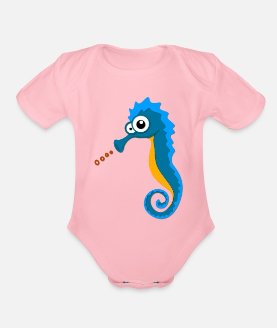 Sea Horse On The Sea Baby One Pieces - Sea Horse on the Sea - Organic Short-Sleeved Baby Bodysuit light pink