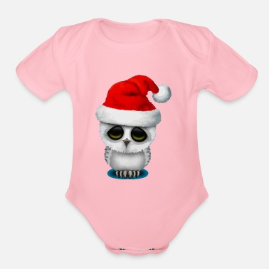 Owl Baby Owl Wearing a Santa Hat - Organic Short-Sleeved Baby Bodysuit
