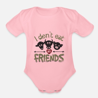 5a9124698 I Don't Eat My Friends Animal Love Vegan AF Gift Baby Lap Shoulder T ...