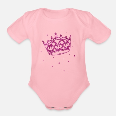Crown Princesses crown with glitter - Organic Short-Sleeved Baby Bodysuit
