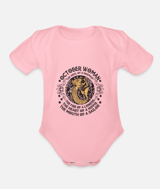 Heart Baby One Pieces - Women Libra - Zodiac - Queens Are Born In October - Organic Short-Sleeved Baby Bodysuit light pink