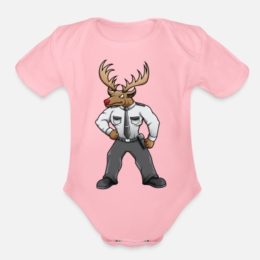 Red Deer Security deer with red nose - Organic Short Sleeve Baby Bodysuit