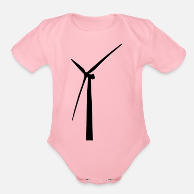 Wind windmill windmuehle wind turbine windrad33 - Organic Short-Sleeved Baby Bodysuit
