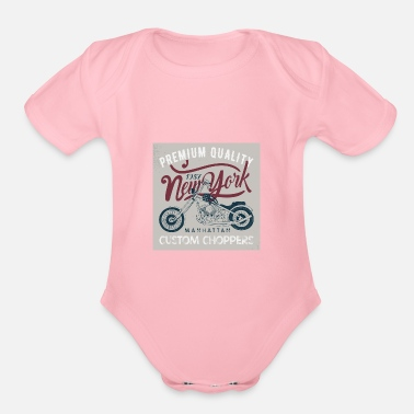 Manhattan MotorcyclePremium manhattan - Organic Short-Sleeved Baby Bodysuit