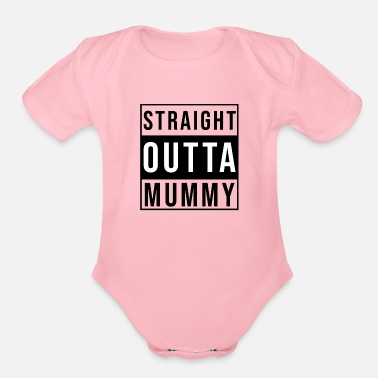 Mummy Straight Outta Mummy black - Organic Short-Sleeved Baby Bodysuit