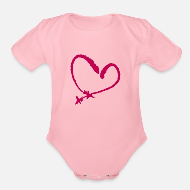 Airshow Heart airshow - Organic Short-Sleeved Baby Bodysuit
