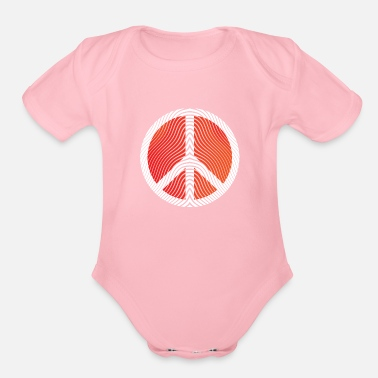 Peace Sign Hippie Peace Sign Art - Organic Short-Sleeved Baby Bodysuit
