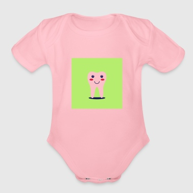 Tooth Happy tooth - Organic Short Sleeve Baby Bodysuit