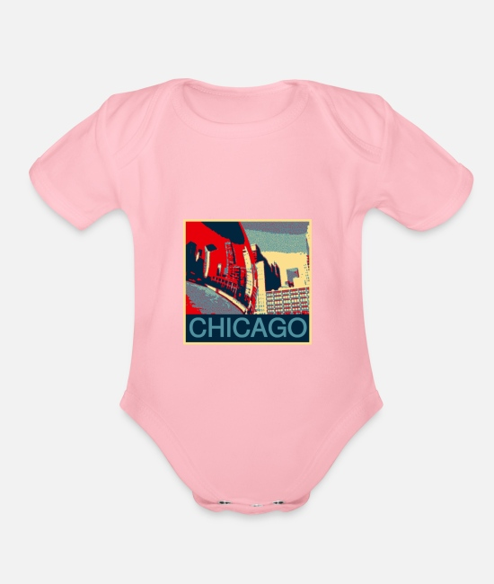 High-rise Building Baby One Pieces - Chicago - Organic Short-Sleeved Baby Bodysuit light pink