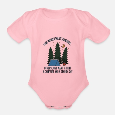 Funny Camping Women Want Tent Campfire Stars Gift - Organic Short-Sleeved Baby Bodysuit