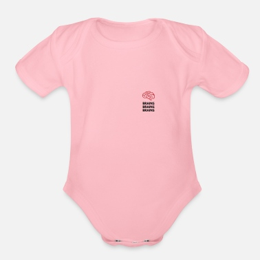 Brain Brains Brains Brains - Organic Short-Sleeved Baby Bodysuit