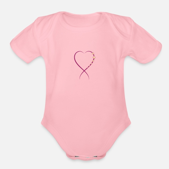 Partnership Baby Clothing - Valentines Day Gift Boyfriend Girlfriend Love - Organic Short-Sleeved Baby Bodysuit light pink