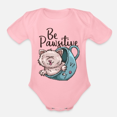 Pixel Cat Motivation Pixel Gaming Shirt - Organic Short Sleeve Baby Bodysuit