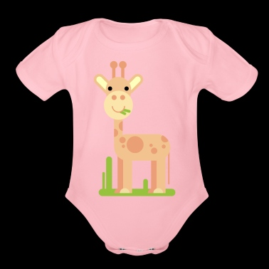 Giraffe Cartoon - Organic Short Sleeve Baby Bodysuit