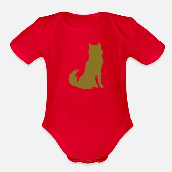 Furry Baby Clothing - HUSKY DOG furry cute shape - Organic Short-Sleeved Baby Bodysuit red