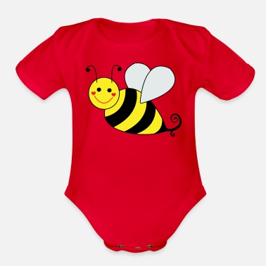 Bee Graphic Cute Bumble Bee - Organic Short-Sleeved Baby Bodysuit