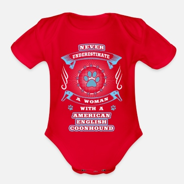 Englis Never underestimate dog girl woman AMERICAN ENGLIS - Organic Short-Sleeved Baby Bodysuit