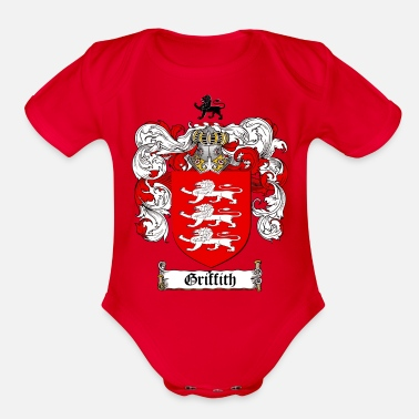 Crest GRIFFITH FAMILY CREST COAT OF ARMS1 - Organic Short-Sleeved Baby Bodysuit