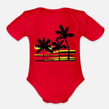 Tropical Palm Trees Surfer Caribbean Hawaii - Organic Short-Sleeved Baby Bodysuit