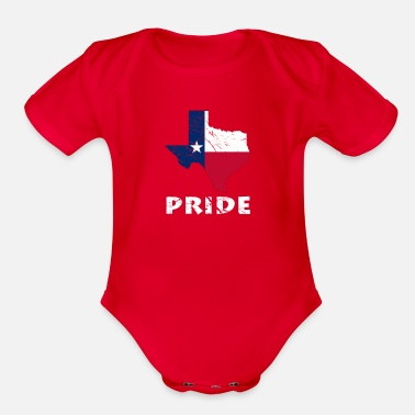 Display Texas Pride State USA Country Flag - Organic Short-Sleeved Baby Bodysuit