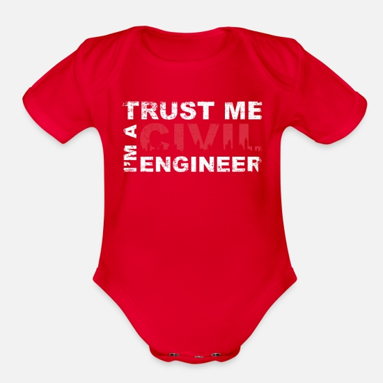Quotes Baby Clothing - Civil Engineer - Organic Short-Sleeved Baby Bodysuit red