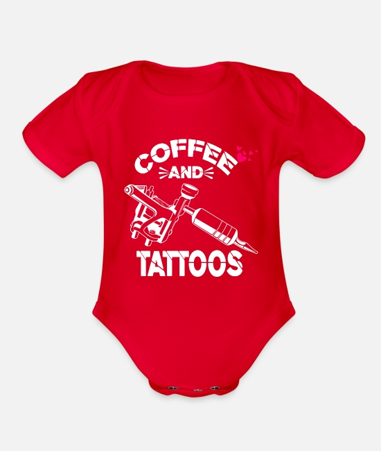 Birthday Party Baby Clothing - Coffee And Tattoos Shirt Funny Tattoo Lover Gift - Organic Short-Sleeved Baby Bodysuit red
