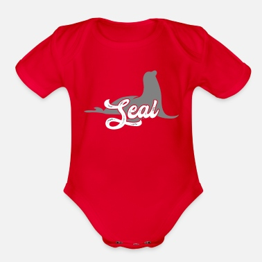 Harbor Seal Seal Animal Text - Organic Short-Sleeved Baby Bodysuit