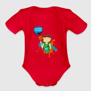 Index Finger Basketball player celebrating spinning ball - Organic Short Sleeve Baby Bodysuit