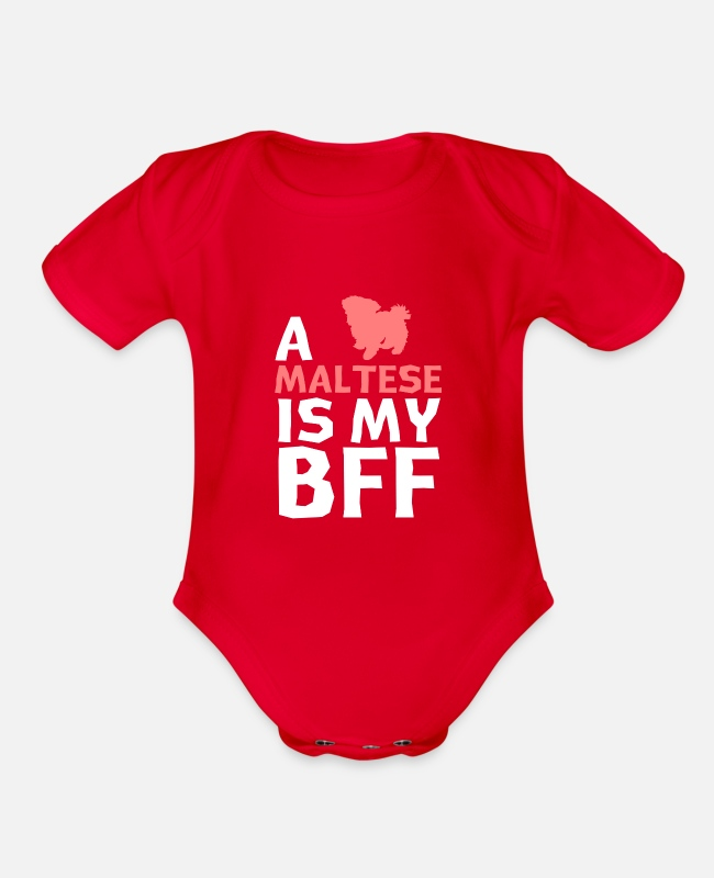 Dog Owner Baby One Pieces - a Maltese is my bff - Organic Short-Sleeved Baby Bodysuit red