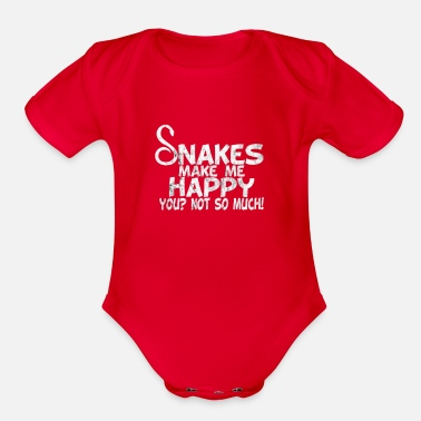 snakes make me happy you not so much usedlook - Organic Short-Sleeved Baby Bodysuit