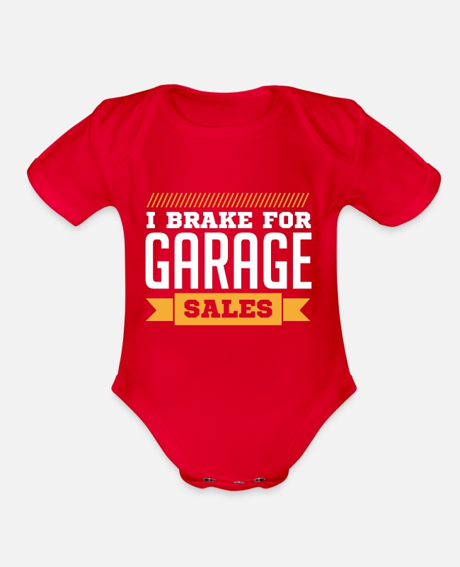 Sale Baby One Pieces - I Brake for Garage Sales | Garage Sales - Organic Short-Sleeved Baby Bodysuit red