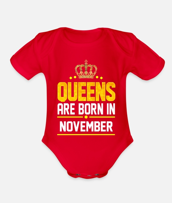 Born In November Baby One Pieces - Queen Born November - Organic Short-Sleeved Baby Bodysuit red