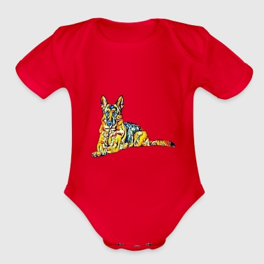 German Shepherd GERMAN SHEPHERD ABSTRACT - Organic Short Sleeve Baby Bodysuit