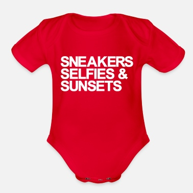 Selfie Girlie Design Sneakers Selfies Sunset - Organic Short-Sleeved Baby Bodysuit