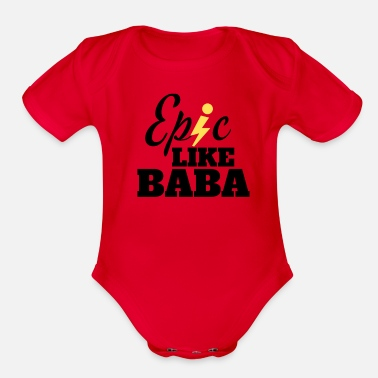 Epic Like Baba Arabic Design - Organic Short-Sleeved Baby Bodysuit