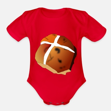 Hot Cross Buns hot cross bun - Organic Short-Sleeved Baby Bodysuit