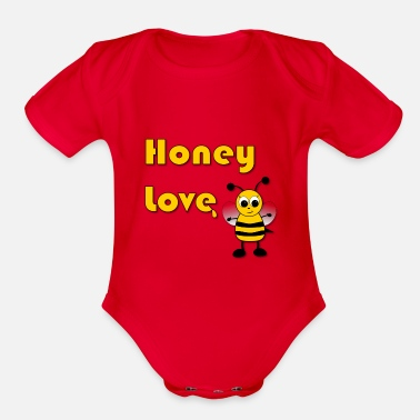 Bee Honey Love with Honey Bee - Organic Short Sleeve Baby Bodysuit