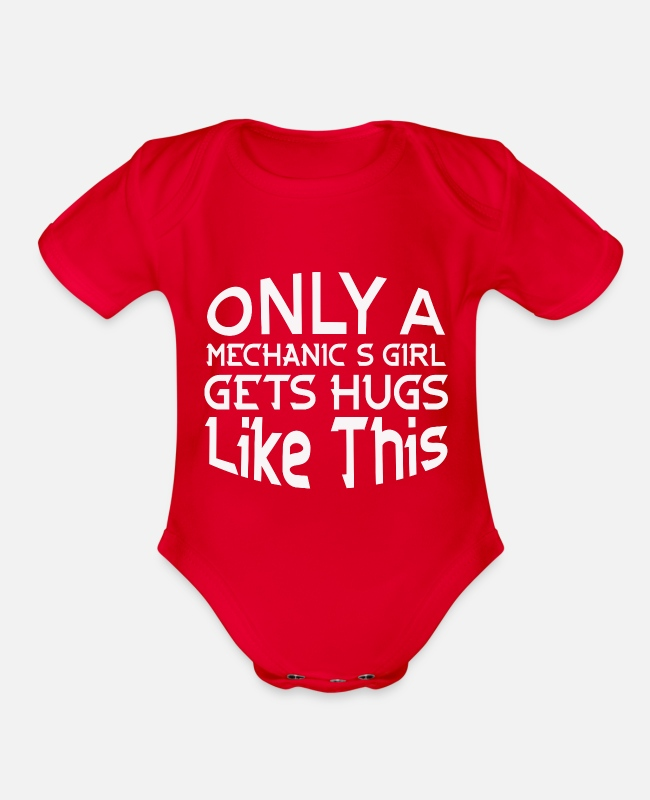 Workhorse Baby One Pieces - job jobs work, mechanics - Organic Short-Sleeved Baby Bodysuit red